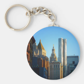 Financial District Skyline Cityscape Basic Round Button Keychain