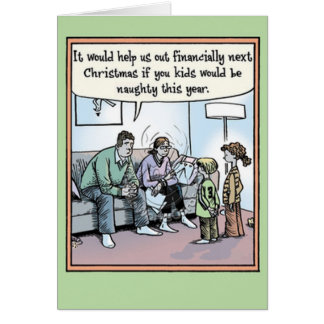 Financially Naughty Kids Christmas Card