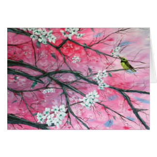Finch Amongst the Cherry Blossoms Note Card
