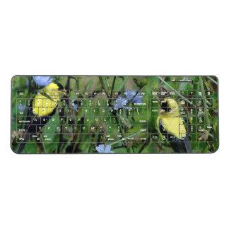 Finch Birds Wildflower Flowers Wireless Keyboard