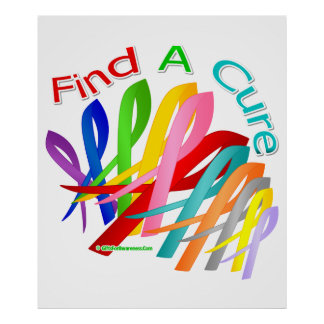 Find A Cure Colorful Cancer Ribbons Poster