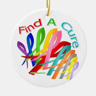 Find A Cure Colorful Cancer Ribbons Round Ceramic Ornament