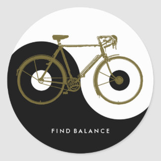 FIND BALANCE / yin yang bicycle Classic Round Sticker
