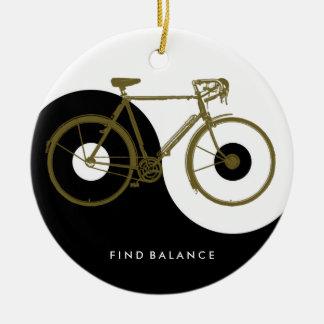 FIND BALANCE / yin yang bicycle Round Ceramic Ornament