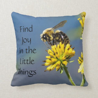 Find Joy in the Little Things Bee Throw Pillow