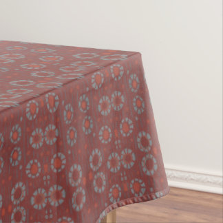Find the Rabbit, rustic pattern, gray & terracotta Tablecloth