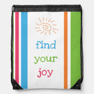 Find Your Joy Sun & Stripes Drawstring Bag