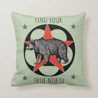 Find Your True North Bear Throw Pillow