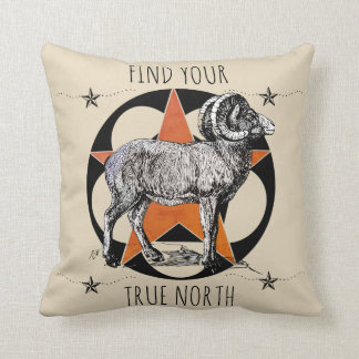 Find Your True North Big Horn Sheep Throw Pillow