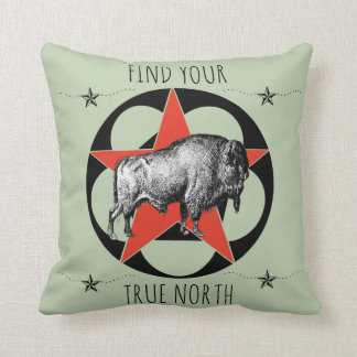 Find Your True North Buffalo Throw Pillow