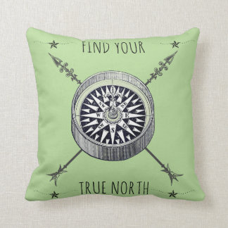 Find Your True North Compass And Arrows Throw Pillow