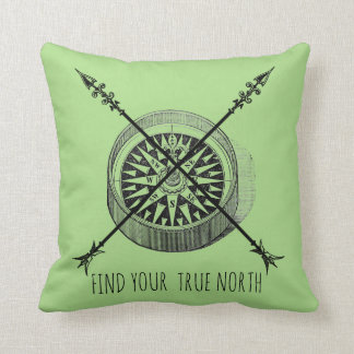 Find Your True North Crossed Arrows And Compass Throw Pillow