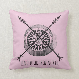 Find Your True North Crossed Arrows Compass Throw Pillow