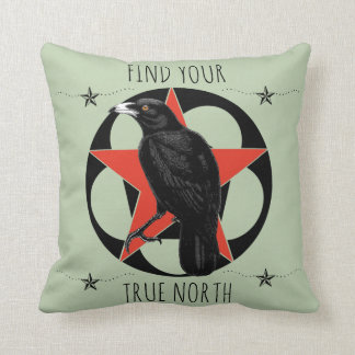 Find Your True North Crow Throw Pillow