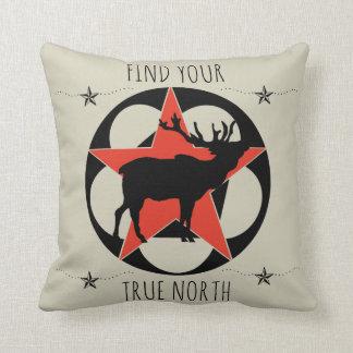 FIND YOUR TRUE NORTH ELK THROW PILLOW