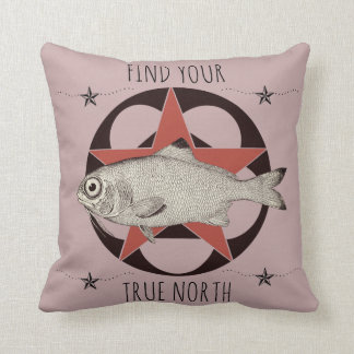 Find Your True North Fish Throw Pillow