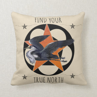 Find Your True North Grey Heron Throw Pillow