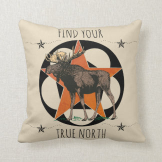 Find Your True North Moose Throw Pillow