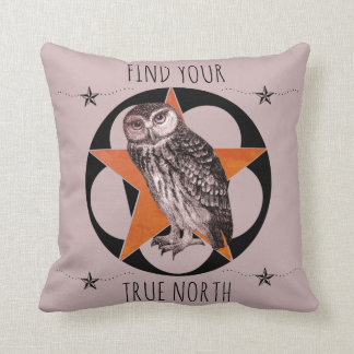 Find Your True North Owl Throw Pillow
