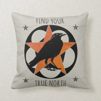Find Your True North Star Raven Throw Pillow