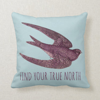 Find Your True North Swift Bird Flying Throw Pillow
