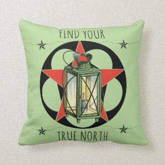 Find Your True North Vintage Lantern Throw Pillow