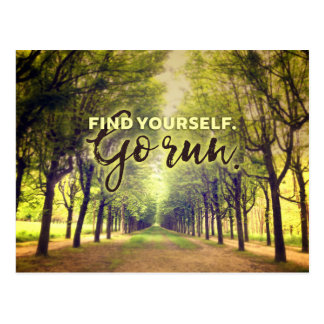 Find Yourself Go Run Runners Quote Fontainebleau Postcard