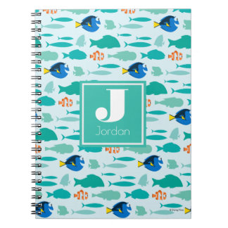 Finding Dory Silhouette Pattern Spiral Notebook
