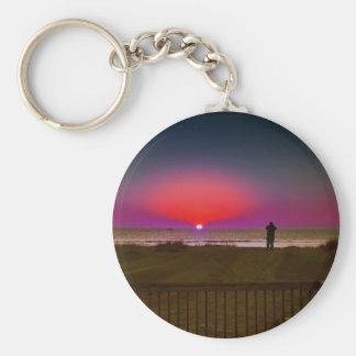 Finding Harmony in Balance Beach Sunrise Meditatio Basic Round Button Keychain