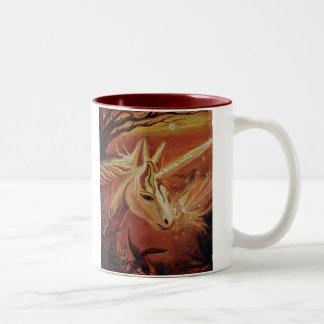 Finding The Way Home - Unicorn & Fairy Art Mug. Two-Tone Coffee Mug