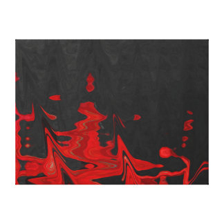 Fine Art Abstract Red on Black Canvas