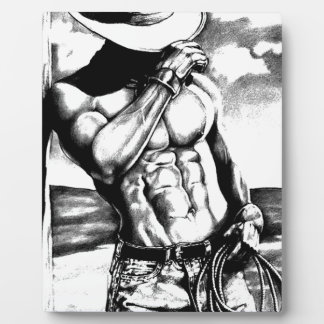 Fine art drawing handsome Cowboy Body Builder Plaque