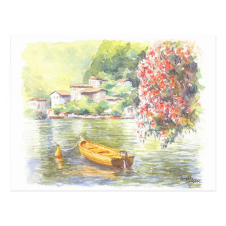Fine Art Postcard- Italian Lake, watercolour Postcard