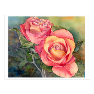 "Fine Art Postcard- ""Red Roses"", watercolour Postcard"