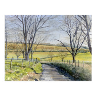 Fine Art Postcard- Winter in Kent, watercolour Postcard