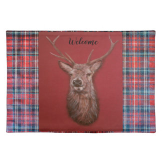 Fine Art red Deer Stag Cloth Placemat