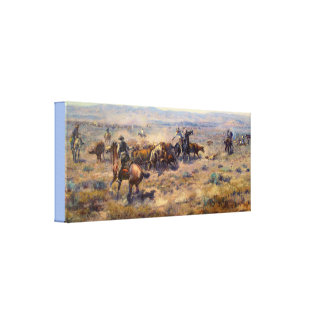 Fine Art Roundup by Charles Marion Russell Canvas Print
