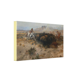 Fine Art The Buffalo Hunt Charles Marion Russell Canvas Print