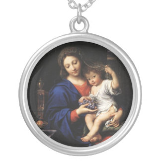 Fine Art Virgin Mary and Jesus Silver Plated Necklace
