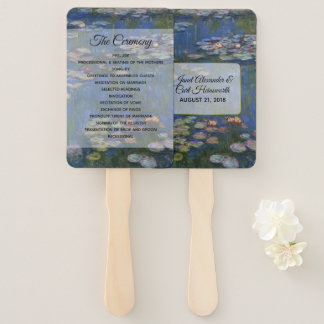 Fine Art Water lilies Wedding Program Fan