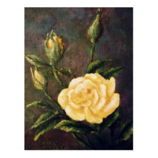 Fine Art Yellow Rose and Buds Still Life Post Cards
