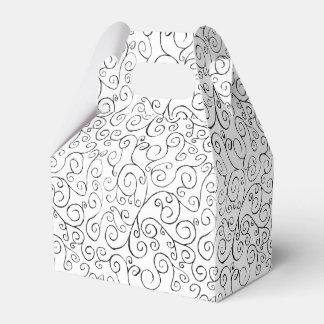 Fine Black Curvy Pattern on White Gable Favor Box