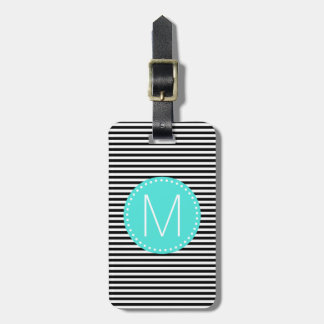 Fine Black Stripe with Turquoise Monogram Luggage Tag