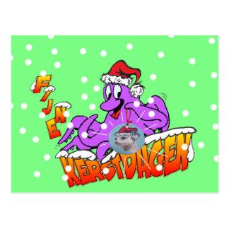 Fine Christmas days octopus postcard