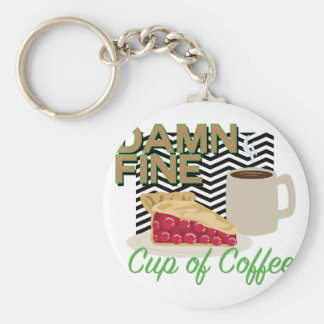 Fine Coffee & Pie Basic Round Button Keychain