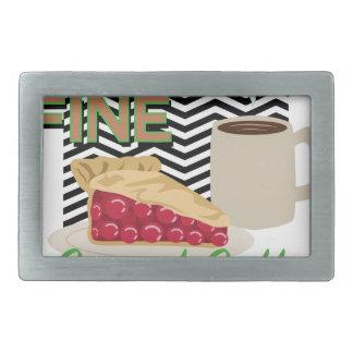 Fine Coffee & Pie Rectangular Belt Buckle
