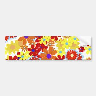 Fine Cool Flowers Cute Girly Retro Floral Bumper Sticker