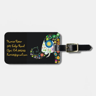 Fine Cute Girly Floral Elephant Luggage Tag