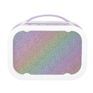 Fine Faux Glitter Sparkles Rainbow Pearl Diagonal Lunch Box
