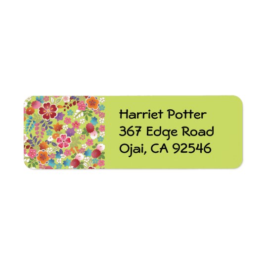 Fine Japanese Plum Blossom Floral Return Address Label